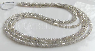 "1"" natural genuine DIAMOND faceted gem stone rondelle beads 2 - 2.5mm white grey"