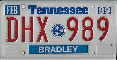 1989   TENNESSEE   Passenger  Plate  DHX 989   EXCELLENT   Condition