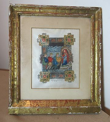 antique Anglo Saxon Benedictional St. Aethelwold manuscript vellum mini painting