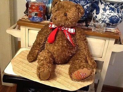 "FAO Schwarz 22"" Jointed Soft Teddy Bear Brown Embroidered Logo, Excellent"