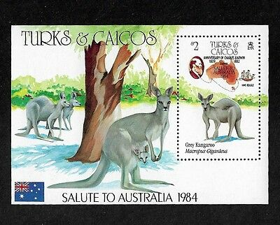 TURKS & CAICOS ISLANDS - 1984 Ausipex 84, Kangaroo, mint mini sheet, MNH MUH