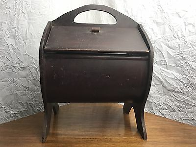 Vintage Wooden Sewing Basket/Box with Handle - Fold Out Doors