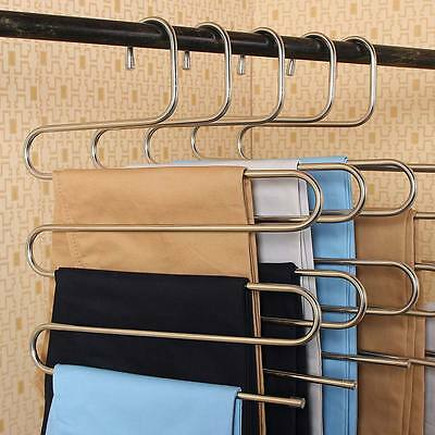 2x Pants Hanger 5 Layers Trousers Towels Hanging Clothes Rack Space Saver Closet
