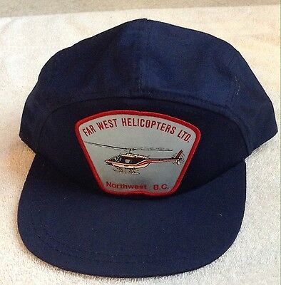 Vintage Far West Helicopters Snapback Trucker Hat Chilliwack BC 80s Aviation