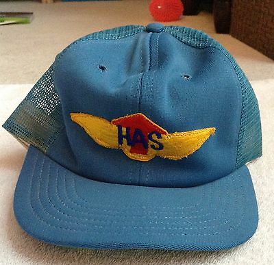 Vintage HAS Snapback Trucker Hat 80s Helicopter Aviation