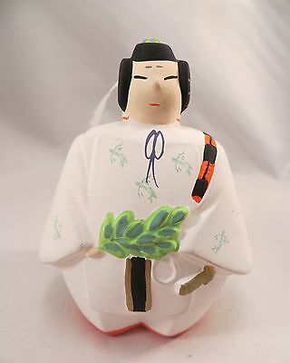 Vintage Japanese Ceramic Bell of Samurai in White Clay Pottery Japan
