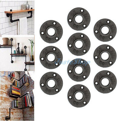 10pcs 1/2'' Malleable Threaded Flange Iron Pipe Fittings Wall Floor Mount Rusty