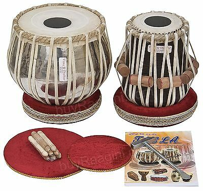 638888969630 -Tabla Drum Set, Chromed Brass Bayan, Finest Dayan with Book