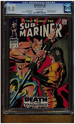 Sub-Mariner #6 Cgc 9.0 Tiger Shark Battle 1968 Blue Label Off White Pages