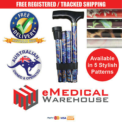 Days Adjustable Height Folding Patterned Walking Stick / Cane - 5 new designs