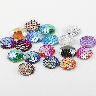 20/50/100PCS Flatback Resin Fish Scale Pattern Round Cabochon Craft Pieces 12mm