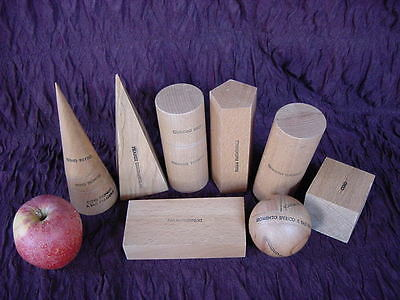 Italian Wooden Geometric Forms, Teaching Aid (8 Pieces)
