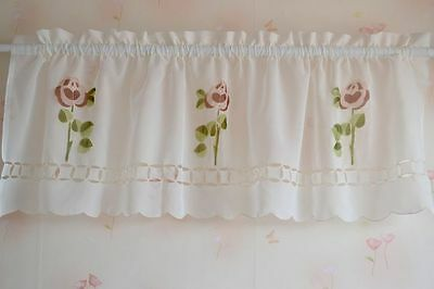 Last Piece @ Pretty Purple Rose Embroidery Cutwork Sheer Cafe Curtain Ivory
