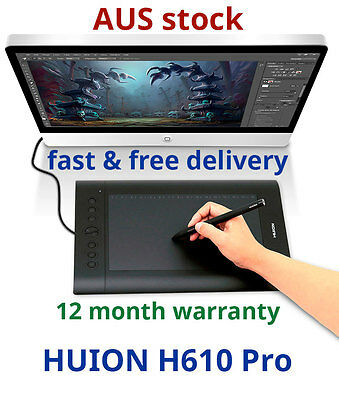 Huion H610 Pro Graphics Pen Drawing Tablet USB Computer Pad Rechargeable Pen USB