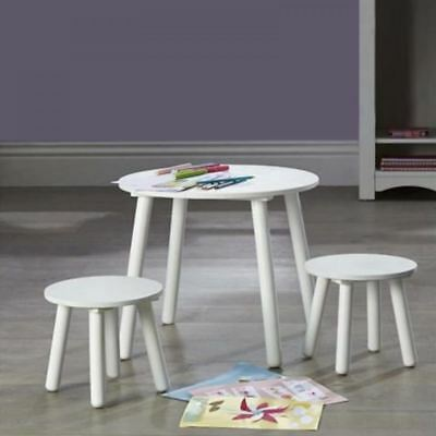 Kidsaw Kids Nursery Table And Stools Chairs Set White Bedroom Playroom Furniture