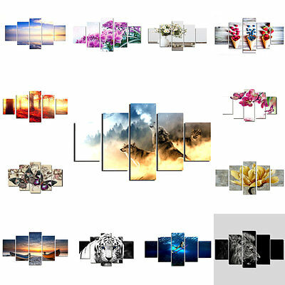 5pcs/set Unframed Canvas Living Room Paintings Modern Wall Art Picture Decor
