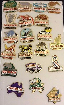 Lot of 20 Outback Steakhouse hat lapel pin Collectibles 15 ANIMAL/STATE  5 XTRAS