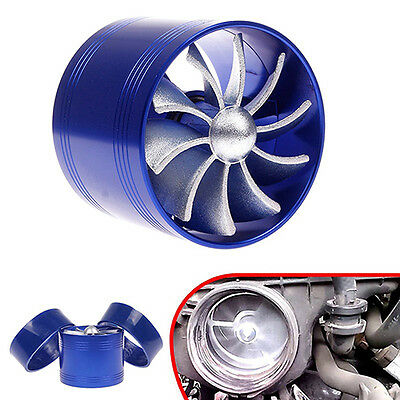 Universal Blue Single Air Intake Fan Fuel Gas Supercharger Turbine Turbo Charger
