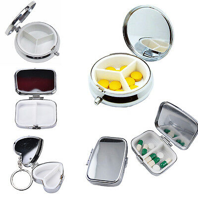 Portable Metal Pillbox Medicine Organizer Container Medicine Case Storage Holder