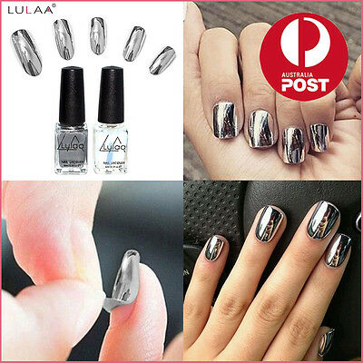 2PC Chrome Varnish Metal Mirror Silver Effect Nail Art Polish Base Coat SYDSTOCK