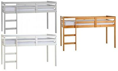 Kid's Panama Mid Sleeper Pine Wood Bed Frame in WHITE, GREY or ANTIQUE PINE