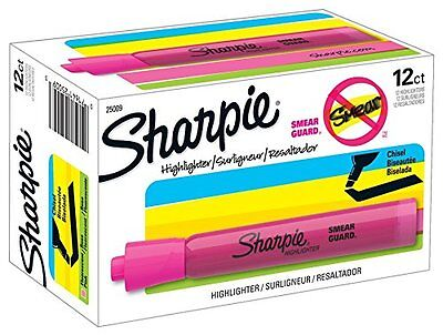 12 Fluorescent Pink Sharpie Highlighter Pen Chisel Tip Quick-dry No-smearing Ink