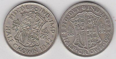 1932 & 1942 50% Silver Half Crowns In Near Very Fine Or Better Condition