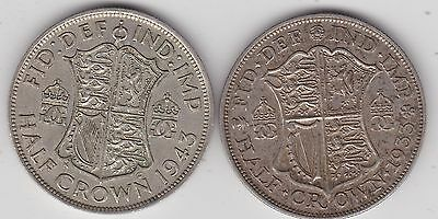 1933 & 1943 50% Silver Half Crowns In Near Very Fine Or Better Condition