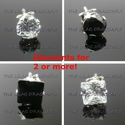 1x Mens SINGLE 925 Sterling Silver Clear Diamante Black Stud Earring 2 to 8mm UK