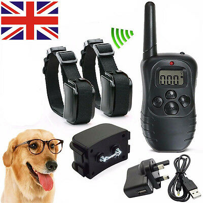 Rechargeable LCD Anti-Bark Electric Shock E-Collar Training Remote Control UK
