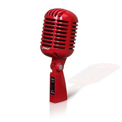 Pyle PDMICR42R Classic Retro Dynamic Vocal Microphone W/ 16-Ft. XLR Cable - RED