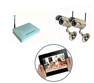 Kit Videosorveglianza Wireless 2 Telecamere Esterno Con Infrarossi + Dvr Sd Card