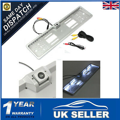 EU License Number Plate Frame & Car Rearview Reverse Camera Kit LED Night Vision