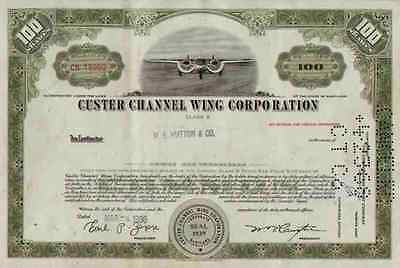 CUSTER Channel Wing Maryland Reading 1960er CCW-5 TOP Common Stock 100 Shares