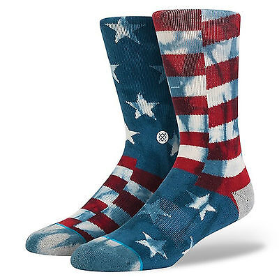 Stance Mens Banner Socks.american Usa Flag Arch Support Crew Large Size Uk 9-12