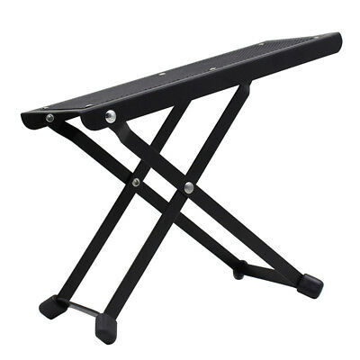 Foldable Metal Guitar Foot Rest Footstool Anti-slip for Guitar Player Black