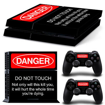 Sony PS4 Playstation 4 Console Skin Sticker New DANGER + 2 Controllers