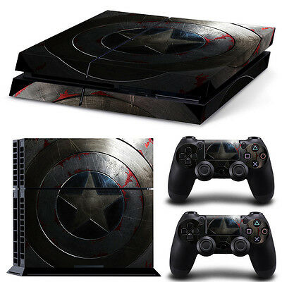Sony PS4 Playstation 4 Console Skin Sticker New Captain America + 2 Controllers
