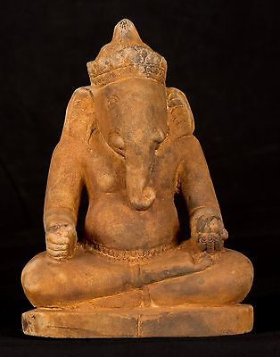 Antique Kashmir Style Seated Sandstone Ganesha Statue - 26cm/10""