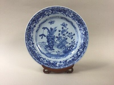 18th Century Chinese Blue and White Plate with Garden Scene
