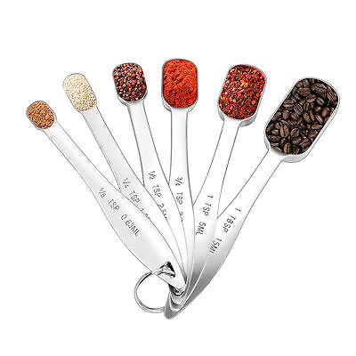 Stainless Steel Measure Spoon Set of 6 for Measuring Dry and Liquid Ingredients