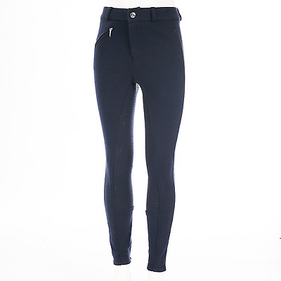 Horze Junior Active Silicone Grip Full Seat Breeches - Dark Blue