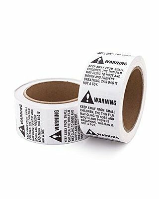 Warning Stickers Caution 2 Rolls 1000 Labels Suffocation Peel Stick Box Adhesive