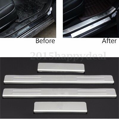 4x Stainless Steel Door Sill Plate Guard Protector For Subaru XV 2013 2014 2015