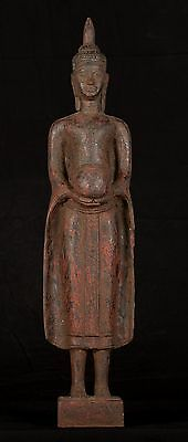 Antique Khmer Style Wood Standing Charity Buddha Statue - 66cm/25.75""