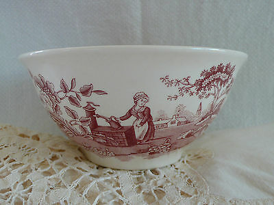 Spode Archive Collection Small Bowl Girl At The Well Cranberry Made In England