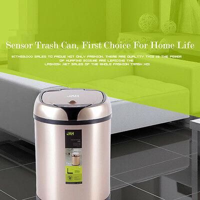 6/8L Automatic Waste Bin Auto Lid Sensor Trash Garbage Can Kitchen Round Gold