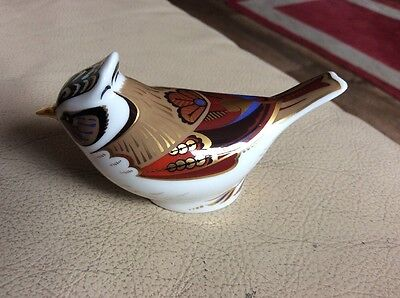 Royal Crown Derby Paperweight Collectors Guild Crested Tit, Gold Stopper