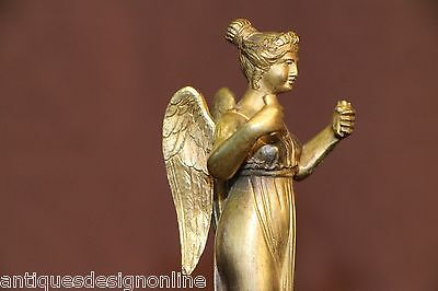 French Empire antique angel watch clock stand candelabra Victory statue bronze