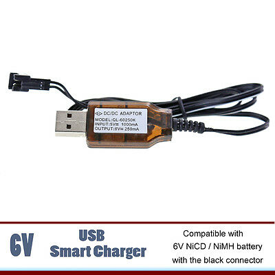 USB Charger for 6V NICD NIMH Battery of RC Cars Trucks Toys JST-SMP CONNECTOR